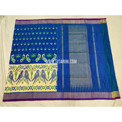 Ikkat Saree-Royal Blue and Cream-Sitarini-PSHIPS304