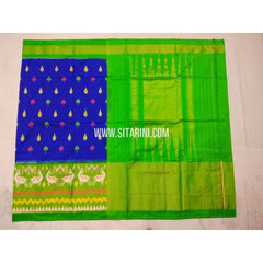 Ikkat Saree-Royal Blue and Parrot Green-Sitarini-PVHIPS102