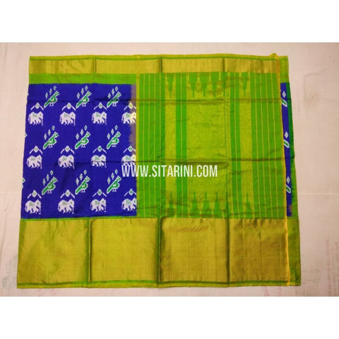 Ikkat Saree-Silk-Blue and Parrot Green-Sitarini-PVHIPS135