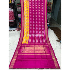 Ikkat Saree-Silk-Magenta and Yellow-Sitarini-PGMHIPS115