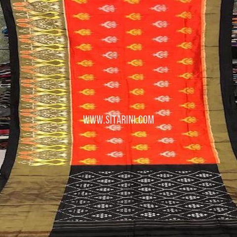 Ikkat Saree-Silk-Orange-Sitarini-SITIPS744