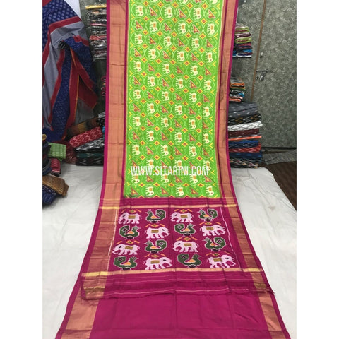 Ikkat Saree-Silk-Parrot Green and Magenta-Sitarini-PGMHIPS116