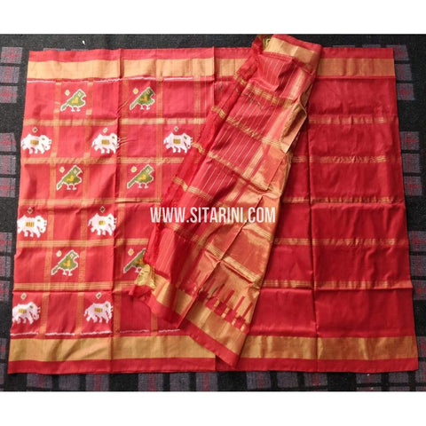 Ikkat Saree-Silk-Red-Sitarini-PRHIPS282