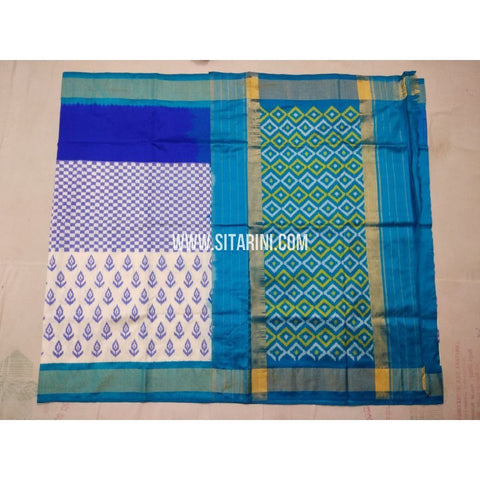 Ikkat Saree-Silk-White and Light Blue-Sitarini-PVHIPS132