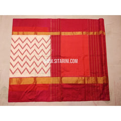 Ikkat Saree-Silk-White and Orange-Sitarini-PVHIPS133
