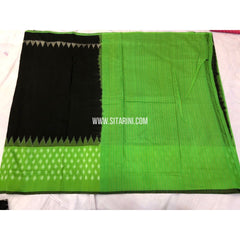 Ikkat Sarees-Cotton-Black and Parrot Green-Sitarini-PRRHICS108