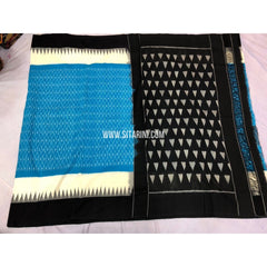 Ikkat Sarees-Cotton-Sky Blue and Black-Sitarini-PRRHICS102
