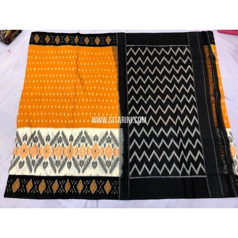 Ikkat Sarees-Cotton-Yellow and Black-Sitarini-PRRHICS105