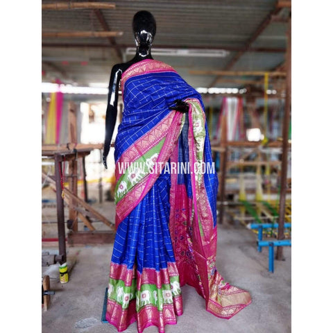 Ikkat Sarees-Kanchi Border-Royal Blue and Magenta-PRHIPS163