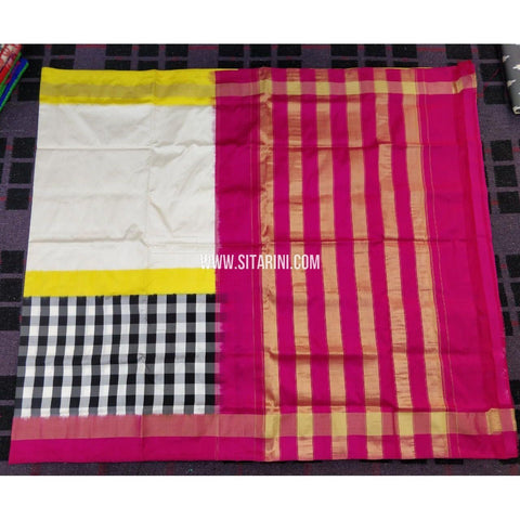 Ikkat Sarees Online-Cream and Magenta-PRHIPS135