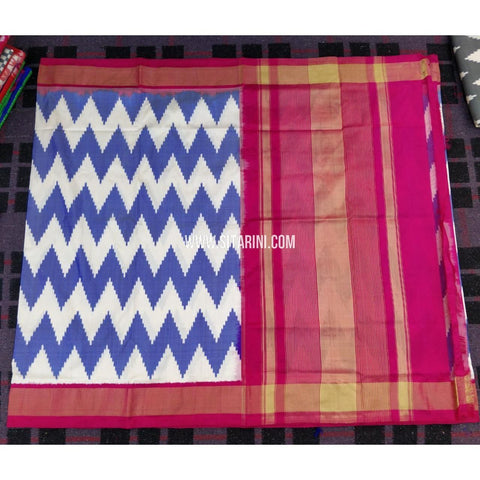Ikkat Sarees Online-Light Blue and Magenta-PRHIPS136