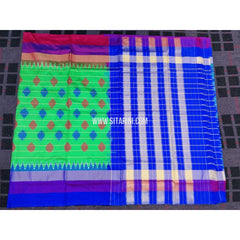 Ikkat Sarees Online-Parrot Green and Royal Blue-PRHIPS134