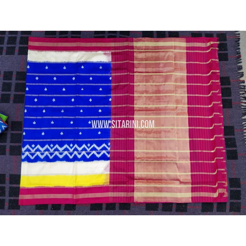 Ikkat Sarees Online-Royal Blue and Magenta-PRHIPS131