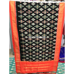 Ikkat Silk Dupatta-Black and Orange-Sitarini-PGMHIPD137