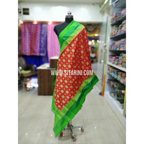 Ikkat Silk Dupatta-Orange and Green-Sitarini-SITIPD214