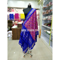 Ikkat Silk Dupatta-Pink and Blue-Sitarini-SITIPD190