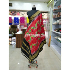 Ikkat Silk Dupatta-Red and Black-Sitarini-SITIPD195