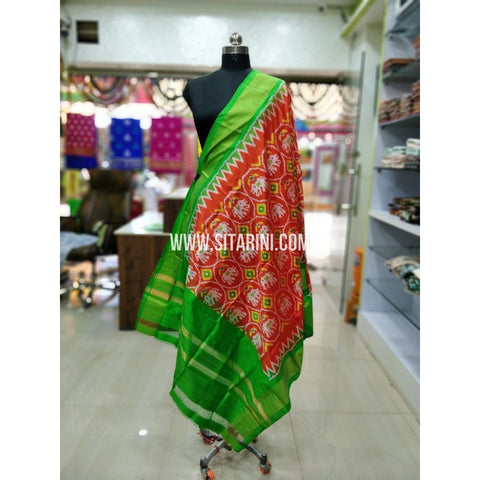 Ikkat Silk Dupatta-Red and Orange-Sitarini-SITIPD198