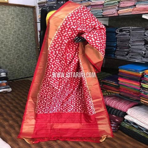 Ikkat Silk Dupatta-Red and White-Sitarini-SITIPD663
