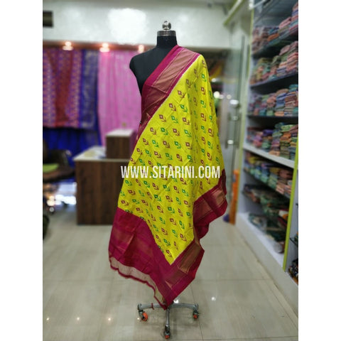Ikkat Silk Dupatta-Yellow and Red-Sitarini-SITIPD219