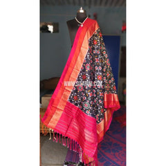 Ikkat Silk Dupattas-Black and Dark Pink-Sitarini-PSHIPD141