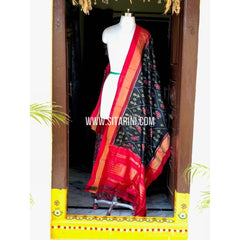 Ikkat Silk Dupattas-Black and Red-Sitarini-PSHIPD113