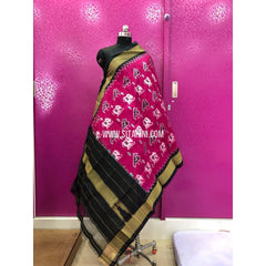 Ikkat Silk Dupattas-Red and Black-Sitarini-PRRHIPD101