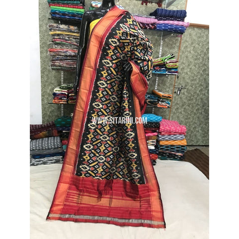 Ikkat Silk Duppata-Black and Red-Sitarini-PGMHIPD117