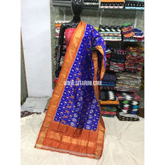 Ikkat Silk Duppata-Blue and Orange-Sitarini-PGMHIPD118