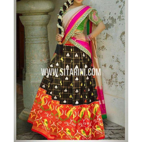 Ikkat Silk Lehanga-Black and Red-Sitarini-PSHIPL176
