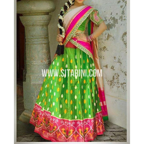 Ikkat Silk Lehanga-Green and Pink-Sitarini-PSHIPL181