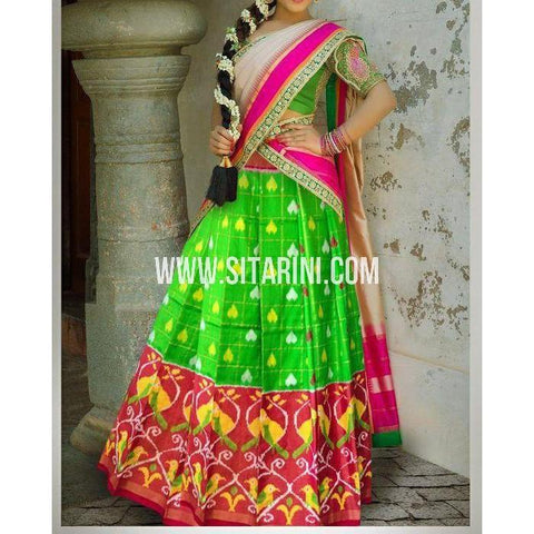 Ikkat Silk Lehanga-Green and Red-Sitarini-PSHIPL177