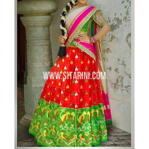 Ikkat Silk Lehanga-Red and Green-Sitarini-PSHIPL175