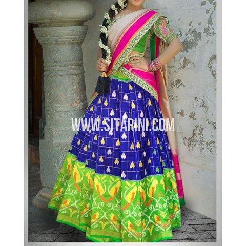 Ikkat Silk Lehanga-Royal Blue and Green-Sitarini-PSHIPL182