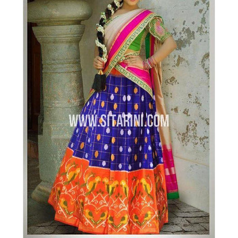 Ikkat Silk Lehanga-Royal Blue and Orange-Sitarini-PSHIPL178