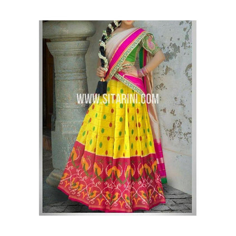 Ikkat Silk Lehanga-Yellow and Pink-Sitarini-PSHIPL183