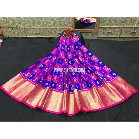 Ikkat Silk Lehenga in Blue and Pink-Sitarini-PGHIPL133