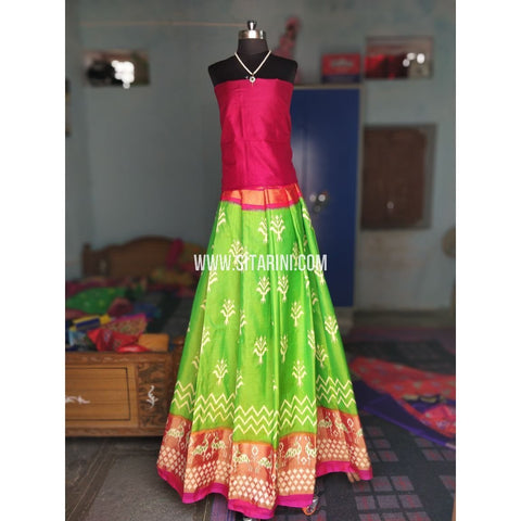 Ikkat Silk Lehenga-Magenta and Light Green-Sitarini-PRHIPL160