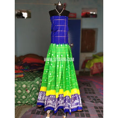 Ikkat Silk Lehenga-Royal Blue and Light Green-Sitarini-PRHIPL158