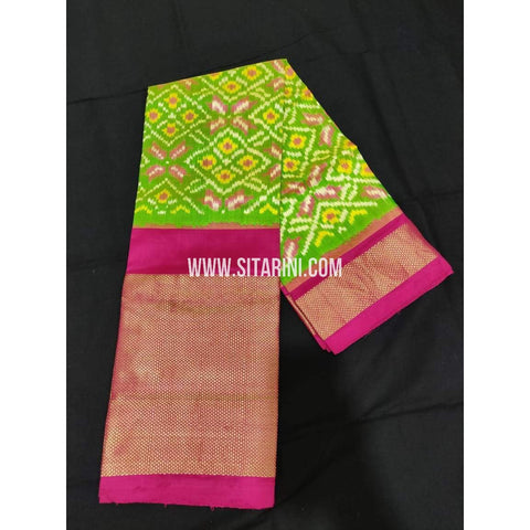 Ikkat Silk Pavadai-Light Green and Magenta-Sitarini-PPBIPLE127