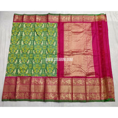 Ikkat Silk Saree with Kanchi Border-Green and Magenta-Sitarini-PSHIPS205