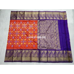 Ikkat Silk Saree with Kanchi Border-Orange and Royal Blue-Sitarini-PSHIPS198