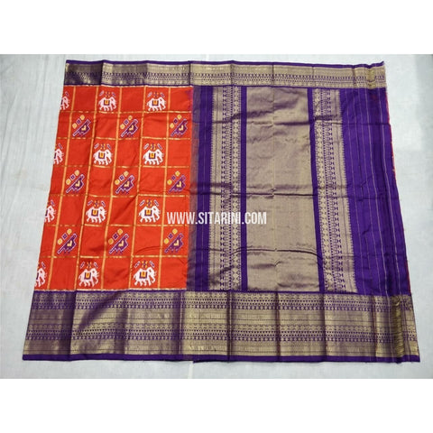 Ikkat Silk Saree with Kanchi Border-Orange and Royal Blue-Sitarini-PSHIPS200