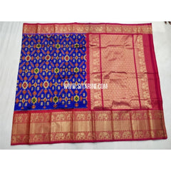 Ikkat Silk Saree with Kanchi Border-Royal Blue and Magenta-Sitarini-PSHIPS201