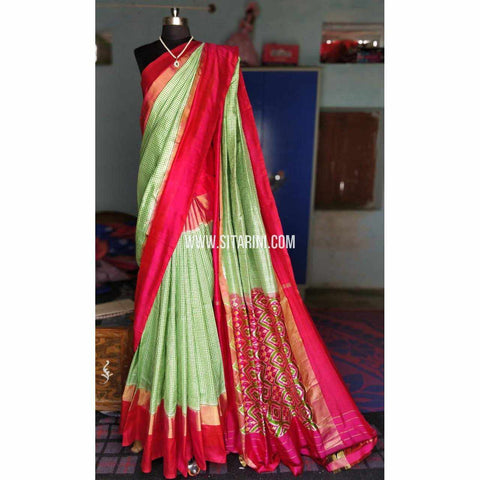Ikkat Silk Sarees-Light Green and Dark Pink-PRHIPS147