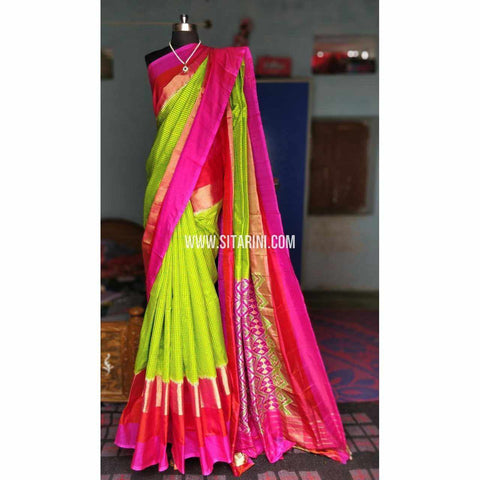Ikkat Silk Sarees-Light Green and Magenta-PRHIPS150