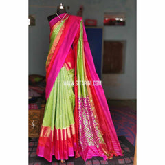 Ikkat Silk Sarees-Light Green and Magenta-PRHIPS151