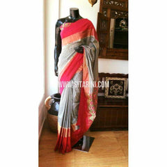 Ikkat Silk Sarees-Light Grey and Dark Pink-PRHIPS146