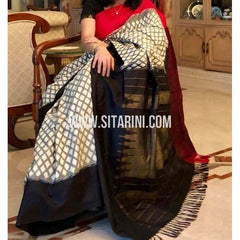 Ikkat Silk Sarees Online-Cream and Black-PRHIPS145