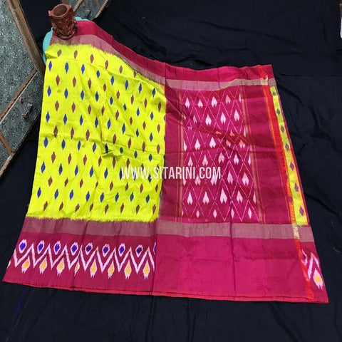 Ikkath Light Weight Saree-Silk-Yellow-Sitarini-SITIPS982